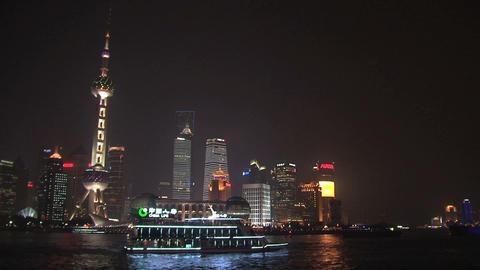 Shanghai skyline pan Stock Video Footage
