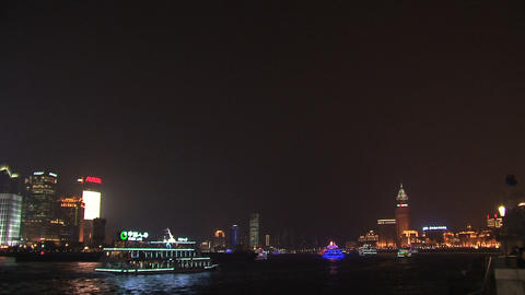 Shanghai skyline pan Stock Video Footage