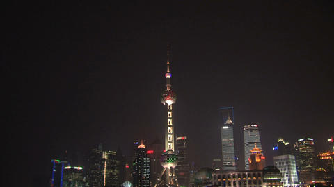 Shanghai skyline zoom out Stock Video Footage
