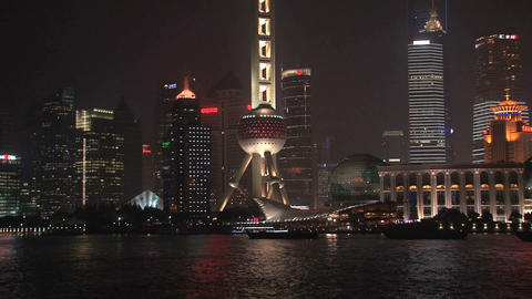 Shanghai skyline tilt Stock Video Footage
