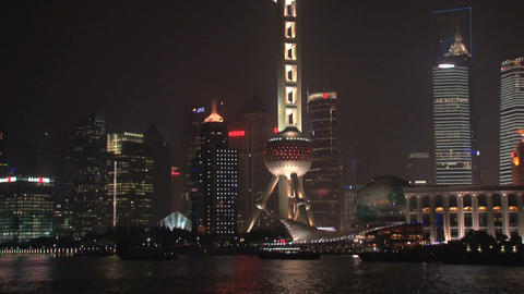 Tilt Shanghai skyline Footage
