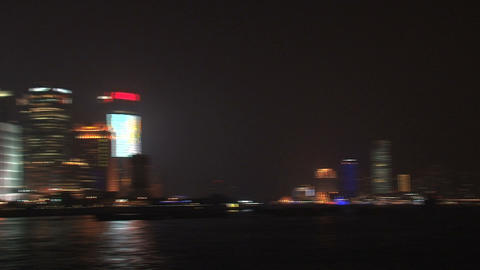 Shanghai the bund and skyline pan Stock Video Footage