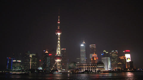 Shanghai skyline tilt Footage