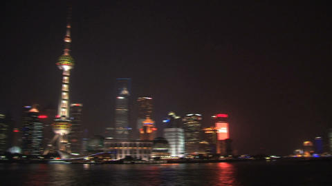 Pan Shanghai skyline Stock Video Footage