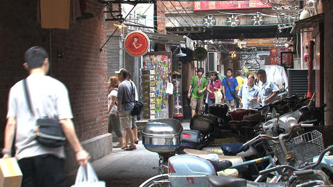 Small street downtown Shanghai Stock Video Footage