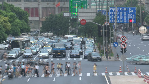 Shanghai crossroad time lapse Footage