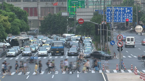 Shanghai crossroad time lapse Stock Video Footage