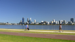 Various People Exercising Along the Swan River in Perth, Australia Footage