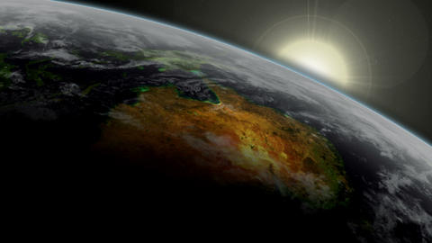 3D Satellite View of Australia With Sunrise Stock Video Footage