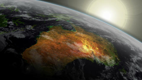 3D Satellite View of Australia With Sunrise Animation