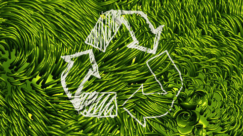 Recycle Sign Scribbling on Green Environment Stock Video Footage