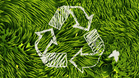 Recycle Sign Scribbling on Green Environment Animation