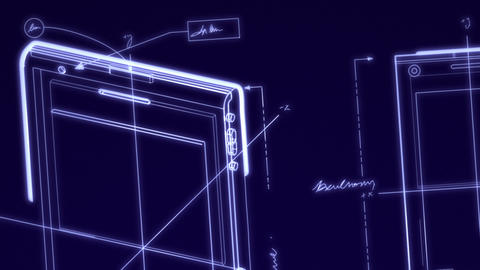 Smartphone Technical Design Animation Stock Video Footage
