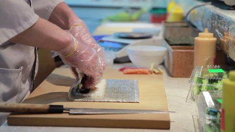Cooking Of Salmon Sushi Roll Footage