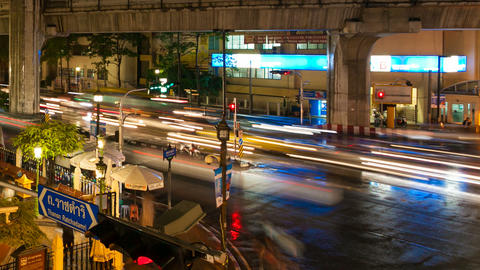 CITY TRAFFIC - TIMELAPSE - NIGHT IN BANGKOK Footage