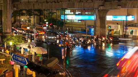 CITY TRAFFIC - TIMELAPSE - NIGHT IN BANGKOK Stock Video Footage
