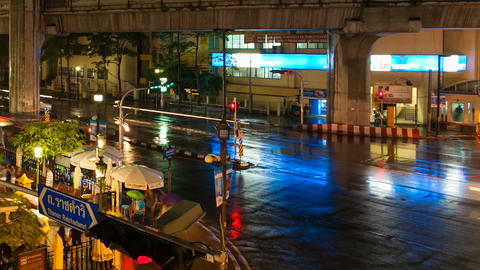 CITY TRAFFIC - TIMELAPSE - NIGHT IN BANGKOK Stock Video Footage