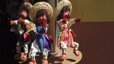 Puppets For Sale in Mexican Market Stock Video Footage