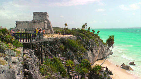 Tourists at Mayan Ruins in Tulum Stock Video Footage