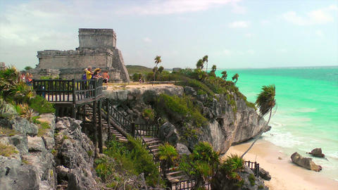 Tourists at Mayan Ruins in Tulum Footage