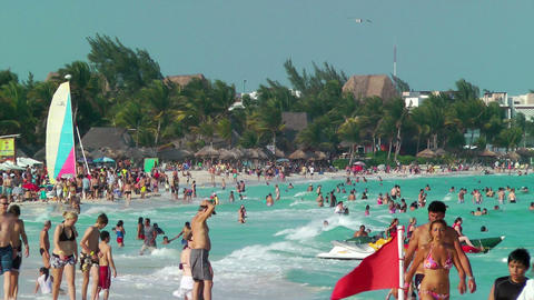 Tourist On Beach In Cancun stock footage