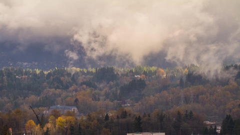 Time Lapse of a Foggy Morning in North Vancouver Stock Video Footage