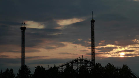 Sunset at a Amusement Park wide shot Footage