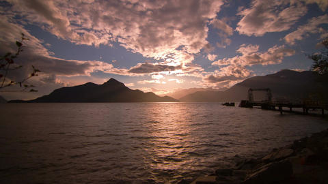 Time Lapse of Cloudy Afternoon at Porteau Cove, BC Stock Video Footage
