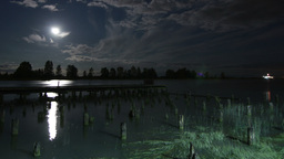 3 Shots of Night Clouds by Fishermen Dock in Richmond Stock Video Footage