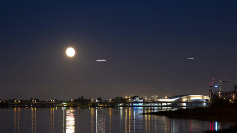 Moon Rising above the Richmond Olympic Oval Stadiu Stock Video Footage