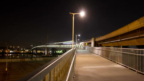 2 Shots of Time Lapse Skytrain bridge connecting R Footage