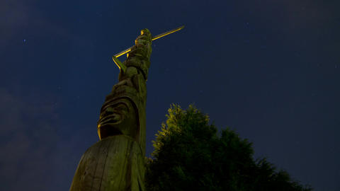 2 Time Lapse night shots of Native Totem Poles in Stock Video Footage