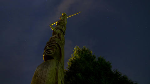 2 Time Lapse night shots of Native Totem Poles in  Footage