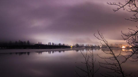Cloudy Night at Whistler, Green Lake in BC Stock Video Footage