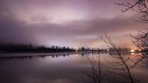 Cloudy Night at Whistler, Green Lake in BC Footage
