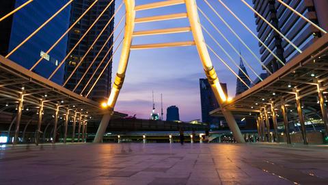 CHONGNONSI BRIDGE IN BANGKOK, THAILAND Stock Video Footage