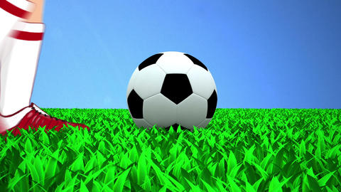 Soccer Ball Kicked To The Sky.   stock footage