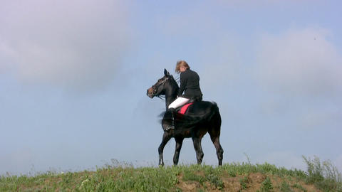 Horse with horsewoman Stock Video Footage