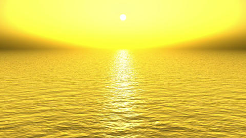 golden sun light reflecting on ocean at dusk Animation