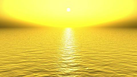 golden sun light reflecting on ocean at dusk Animation