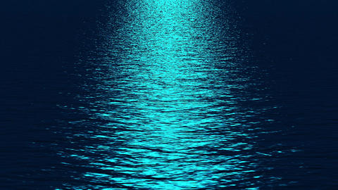 blue light reflecting on ocean at night Stock Video Footage