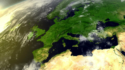 3D Satellite View Over Europe Stock Video Footage