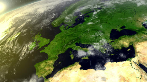 3D Satellite View Over Europe Animation