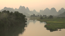 Beautiful karst scenery in late light, China Stock Video Footage