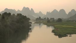 Beautiful karst scenery in late light, China Footage