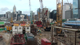 Building site in front of Hong Kong skyline Stock Video Footage
