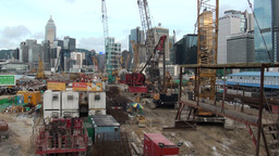 Building site in front of Hong Kong skyline Footage