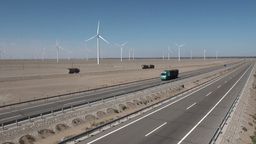 Chinese highway and wind turbines Stock Video Footage