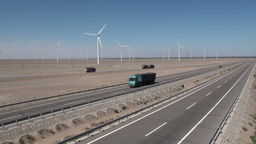 Chinese highway and wind turbines Footage