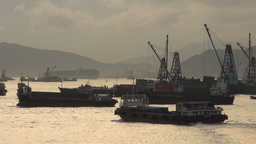 Container ship leaves Hong Kong harbour Footage